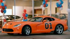 Not the General Lee Dodge Viper -- But rather a 2014 Orange Viper !!!  Seen in commercials.
