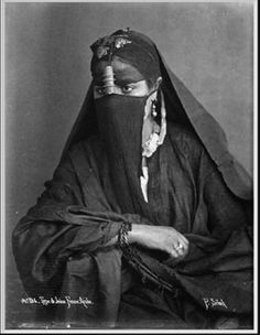 Africa | Young Arab woman.  Egypt.  ca. 1870s || Scanned photographic print; photographer Pascal Sebah