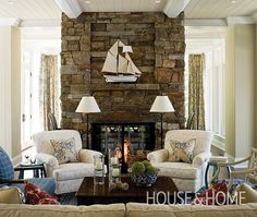Use 2 chairs and 2 floor lamps in front of fireplace with raised hearth? Traditional Cottages | House & Home
