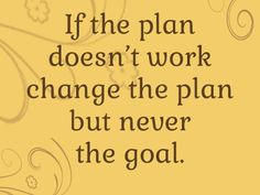 Goals...plans...stick to what you want to achieve