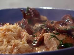 Ricotta, Spinach, and Ham Stuffed Chicken Breast Marsala with Pine Nut Pilaf recipe from Rachael Ray via Food Network