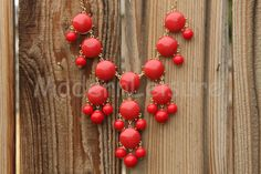 Red statement necklace Bubble necklace Bib by ModernLeisure, $14.99