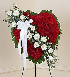 Order Red Solid Standing Heart with White Roses flower arrangements from All Flowered Up Too, your local Lubbock, TX florist. Send Red Solid Standing Heart with White Roses floral arrangement throughout Lubbock and surrounding areas. 800 Flowers, Grave Flowers, Cemetery Flowers, Funeral Flowers, Funeral Floral Arrangements, Creative Flower Arrangements, Flower Arrangement Designs, Funeral Sprays, Corona Floral