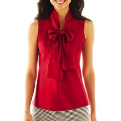 jcpenney - 9 & Co.® Solid Bow-Neck Blouse - jcpenney