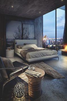 Elegancka, sypialnia, ciemna, ciemne kolory, wnętrze,ht… na Stylowi.pl