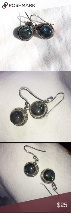 Labradorite dangle earrings in silver. Lustrous Labradorite! Has moonstone colors of blue and shimmering sparks within. So pretty! Artisan Jewelry Earrings