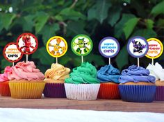 """Lego Mixels 2"""" diameter Cupcake Toppers - for standard Avery label sheets."""