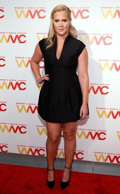 Classic LBD from Amy Schumer's Best Looks  For the 2015 Women's Media Awards in New York City, Schumer pairs a Halston dress with Giuseppe heels.