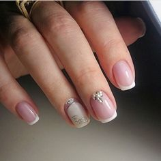 Such design makes the young and romantic girl more beautiful. Body-colored beige nail polish can be chosen for the basic