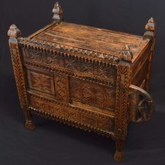 Cabinet made of mountain cedarwood, decorated with engravings, with a sliding door to access internal space. Origin: Swat Valley, Pakistan. Period: early XX century. The Swat Valley is a mountainous and fertile area in the extreme Northwestern Pakistan, well known for the fine woodworking, especially in furniture. The woods of cedar and walnut are the preferred materials for architectural elements, such as decorations and beams for furniture and tools. Generally, the houses do not have much…