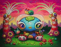 "Yoko D'Holbachie is a Japanese painter, born in Yokohama and working in Tokyo. Her art is a perfect mix of western pop surrealism and ""traditional"" kawaii characters, in a psychedelic palette of colors.    In her creatures you can feel the inspiration coming from one of her favourite artists: Jim Woodring, from a japanese point of view."