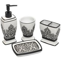 Black/ White Damask Bath Accessory Set The post Black/ White Damask Bath Accessory Set appeared first on Best Pins for Yours - Bathroom Decoration Damask Bathroom, Paris Bathroom, Bathroom Black, Master Bathroom, Bathroom Canvas, Damask Party, Damask Decor, White Bathroom Accessories, White Damask