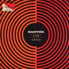 "Brilliant cover for Bartok's ""Piano Concertos Nos. Lp Cover, Vinyl Cover, Cover Art, Cool Album Covers, Music Covers, Album Design, Vinyl Cd, Vinyl Music, Piano"