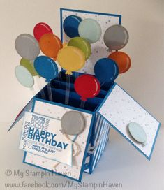 High Tide DSP, Delightful Dozen, punch art balloons birthday card in a box
