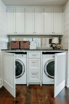 45 The Best Laundry Room Makeover Ideas For Your Dream House - Its one of the most used rooms in the house but it never gets a makeover. What room is it? The laundry room. Almost every home has a laundry room and . Tiny Laundry Rooms, Mudroom Laundry Room, Laundry Room Remodel, Laundry Room Organization, Laundry Room Design, Laundry In Bathroom, Laundry In Kitchen, Small Laundry Space, Laundry Doors