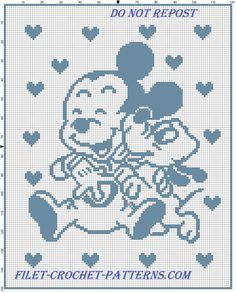 Baby Mickey and Pluto happy baby blanket filet crochet