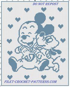 Baby Mickey and Pluto happy baby blanket filet crochet