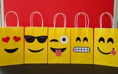 Lets get Emojional n make your own Favor Bags for your Emojis Party! They are very easy to assemble and Im sure youll have lots of fun making them! You may print as many as you need.  This File includes: - 5 different Emoji Facial Expressions Templates (2 of each one) - Instructions Sheet (Bag is not included)  Instructions: Step 1: Purchase and download the PDF file Step 2: Print on white cardstock paper (8 ½ x 11= Letter Size) Step 3: Cut out each piece Step 4: Glue the images onto the…