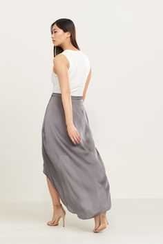 Smooth talker. High Low Satin Wrap Skirt