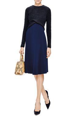 Boucle-Knit and Crepe Cross-Front Dress by Thakoon - Moda Operandi