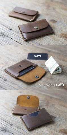 The envelope wallet is a super minimalist card wallet. The main pocket holds your cards, secured with a closure snap. While the reverse side card slot holds your most used, quick access cards. Leather Wallet Pattern, Slim Leather Wallet, Handmade Leather Wallet, Leather Card Case, Leather Keychain, Leather Purses, Leather Business Card Holder, Leather Projects, Leather Accessories