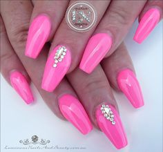 Pink nails with crystal accents by @luminousnails