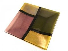 Fused Glass Plate, Iridescent Purple, Amber and Green
