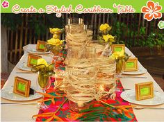 Caribbean-inspired table setting with gold accents.