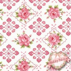 """Hill Farm 30554-10 by Brenda Riddle for Lecien Fabrics: Hill Farm is a lovely collection by Brenda Riddle that was inspired by yesteryear.  Lecien Fabrics.  100% cotton, 44""""/45"""" wide.  This fabric features a lattice and pink rose design on an off-white background."""