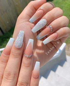 Bling Acrylic Nails, Acrylic Nails Coffin Short, White Acrylic Nails, Coffin Shape Nails, Best Acrylic Nails, Rhinestone Nails, Glue On Nails, Acrylic Nail Designs, Fake Nail Designs