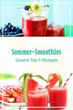 An heißen Sommertagen sind fruchtige Smoothies eine willkommene Erfrischung. Unsere Rezepte mit saisonalem Obst und Gemüse solltest du dir deshalb nicht entgehen lassen. Nichts wie ran an den Mixer! #smoothie #smoothies #smoothierezepte #sommerrezepte