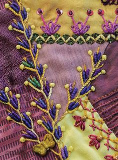 Wonderful Ribbon Embroidery Flowers by Hand Ideas. Enchanting Ribbon Embroidery Flowers by Hand Ideas. Crazy Quilt Stitches, Crazy Quilt Blocks, Patch Quilt, Crazy Quilting, Crazy Quilt Tutorials, Quilting Tutorials, Quilting Designs, Quilting Ideas, Quilting Templates
