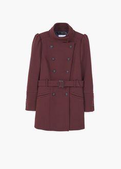 Puffed-shoulder wool coat | MANGO