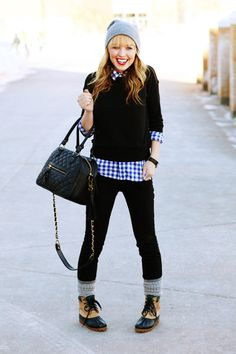 blue gingham & black