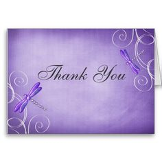Purple Dragonfly Swirls Thank You Greeting Cards