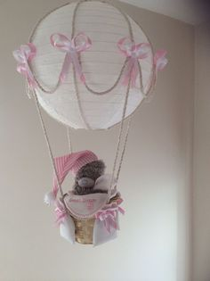 Hot Air Balloon Lamp light shade Tatty  Bear Pink