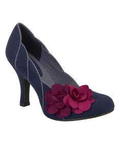 Love this Navy & Fuchsia April Floral-Accent Pump by Ruby Shoo on #zulily! #zulilyfinds