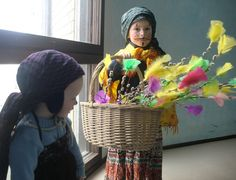 Virpominen is a Finnish Easter tradition. On the Palm Sunday children disguised as witches walk from door to door saying: 'Virvon varvon tuoreeks terveeks, tulevaks vuuveks! Vitsa sulle, palkka mulle!...' (wishes of good for the new year, twig for you, reward to me). They give away decorated willow twigs and get some sweets instead. My sons for the first time today fulfilled this tradition.