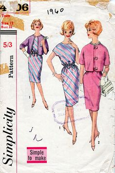 1960s Dress and Jacket Pattern Simplicity 4306 by BessieAndMaive
