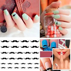Black Moustache Water Transfer Nail Art Decals Sticker Wrap Decoration Tool