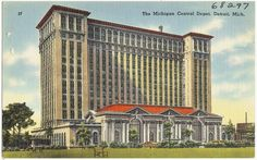 Vintage postcard of the Michigan Central Train Station in Detroit, MI, c. 1930-45