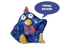 """Postkarte mit lustigem Gesellen mit Sprechblase """"Frohe Ostern"""". Der Text der Sprechblase kann nach Deinen Wünschen gerne verändert werden; z. B. Da..."""