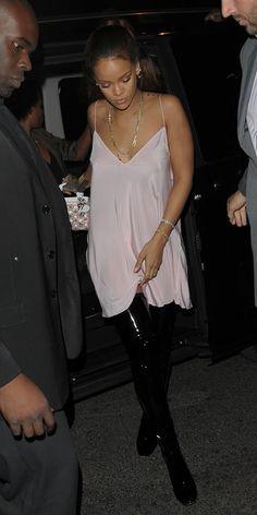 Rihanna partied in Paris wearing a custom Dior... | RIHANNA.STYLE