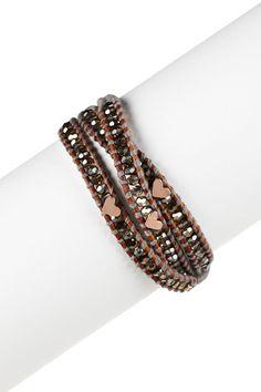 Chan Luu - Cord & Swarovski Crystal Whit Heart Wrap Bracelet
