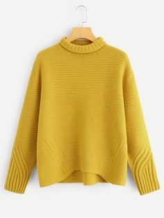 Plus Rolled Neck Dip Hem Solid Jumper -SheIn(Sheinside) Poncho Sweater, Cable Knit Sweaters, Plus Size Sweaters, Sweaters For Women, Knitwear Fashion, Yellow Fashion, Thing 1, Pull, Autumn Winter Fashion