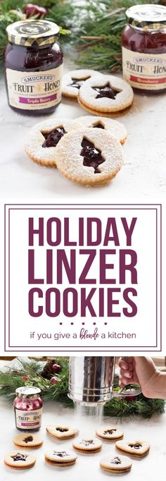 Holiday Linzer Cookies are a must-try for Christmas baking! #EasyHolidayEats #ad Smucker\'s | www.ifyougiveablo...