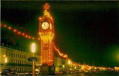 Postcard:- Weymouth, Jubilee Clock At Night