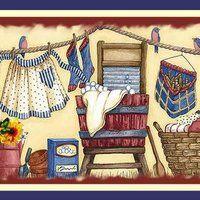 One of my wallpaper border designs - Diane Knott Decoupage Vintage, Decoupage Paper, Vasos Vintage, Primitive Pictures, Laundry Room Art, Estilo Country, Vintage Laundry, Country Art, Country Life