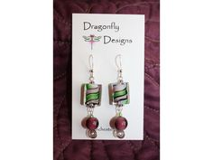 Glass Green and Purple Sterling Dangles. Dragonfly Designs. Sterling Silver.