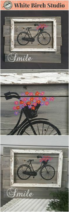 """Bright Hand painted Daisies in a basket of antique bike, Wall art, barnwood, Reclaimed Wood Pallet Art, Rustic and Shabby Chic Summer Porch distressed  Original Acrylic painting on reclaimed, pallet wood that has been gray washed.  This unique piece is 19 in x 15 in. The hand painted bike with a basket of daisies is boxed in with aged, peeling white paint barn wood. The """"Smile"""" is painted in white."""